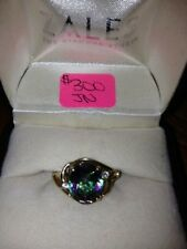 Mystic Fire TOPAZ Ring Oval with DIAMONDS 10k Yellow GOLD Size 7-EUC!!!