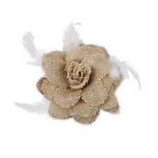 Broche en tissu de fleur nuptiale pour femme Broche Vintage Hessian Burlap