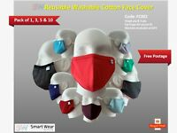 SW Reusable Washable Cotton Face Covers 1, 3, 5,10 Pack Family Pack FC002