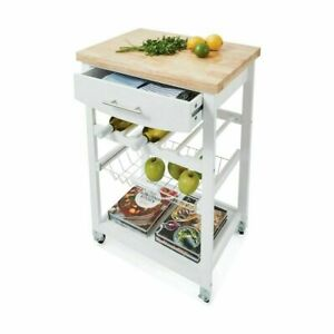 Wooden Kitchen Food Utility Trolley Cart Drawer 2 Shelves Cabinet Rack White H5