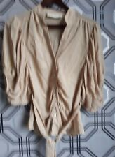 River Island Gold Metalic Button Up 2/4 Sleeve Blouse with matching belt Size 14