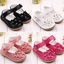 HK- Cute Baby Infant Toddler Girl's Flower Rhinestone Faux Leather Shoes Remarka
