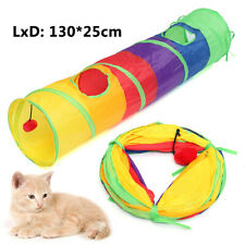 Pet Cat Tunnel Toy Puppy Stretch Channel Foldable W/ Hanging Ball Fun Play Tube