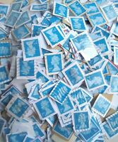 4000 2nd Class Blue Security Stamps Franked Used kiloware close trimmed