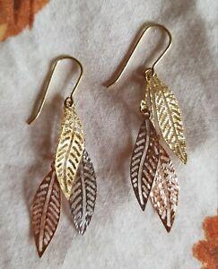QVC 9ct 375 three colour gold leaf drop earrings