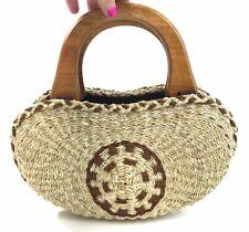 Vintage Bermuda Bag Handbag Southwest Woven Jute Purse Wood Handles