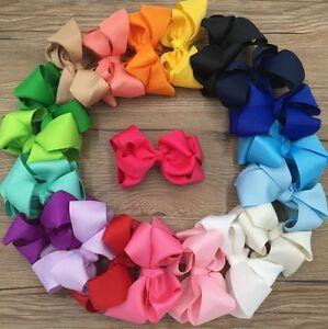 4.3 Inch Grosgrain ribbon double bow hair clip girls ladies