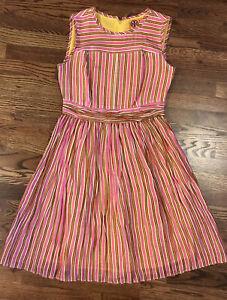 Tory Burch Hildy Linen Silk Striped Dress Size 8