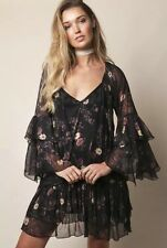 NWT FREE PEOPLE BLACK FLORAL BOHO MINI DRESS BELL SLEEVES TUNIC SZ S SMALL $128