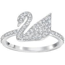 Сваровски женские кольцо знаковых лебедь прозрачный кристалл серебристый тон, размер 52 (5250743)