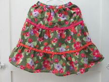 Gymboree Skirt Girls 5T Green Multicolor Ruffle Floral Lined Elastic Waist