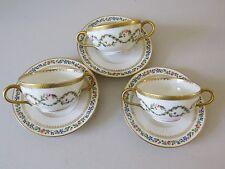 RARE 1800'S SET OF 3 J POUYAT LIMOGES HANDLED BOUILLON CUPS SAUCERS FLORAL GOLD