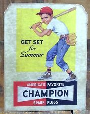 Get Set for Summer Boy with Baseball Bat Champion Spark Plugs Store Counter Sign