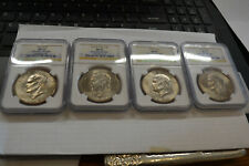 (4) coin Eisenhower Ike Dollar Set From the Big Sky Hoard NGC MS-65