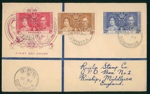Mayfairstamps Dominica 1937 Coronation Set to England First Day Cover wwp73187