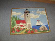 """Wool Hand Hooked Rug Mat Light House 20"""" x 27"""""""