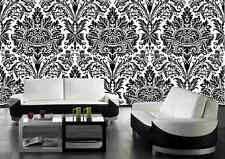Black & White Damask-Wall Mural-6'wide by 9'high