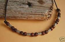 Surf Necklace Tibetan Silver Wood and Brown Leather Tie on Adjustable