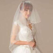 Women Bride Bridal Wedding White Party Pearl Hair Head Veil Wrap Prop NO Comb