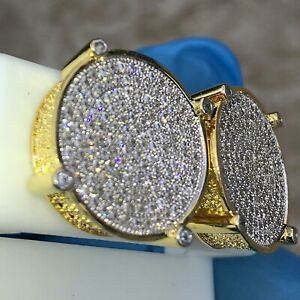 14K Gold Plated Huge Round 18MM Screw Back Hip Hop Earrings 2 Tone Micro Pave