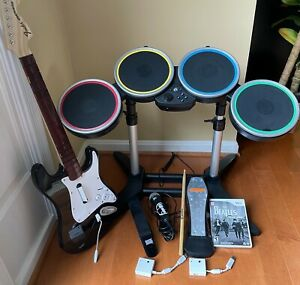 Beatles ROCKBAND Wii Bundle - Drums, Fender Strat Guitar, Mic, 2 Dongles, Game
