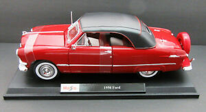 1950 Ford Custom Deluxe Convertible ~ Red ~ 1:18 Metal Die Cast Car ~ Maisto
