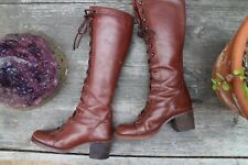 Vintage 1960s 1970s Caramel Lace up Leather Granny Hippie Boots