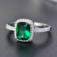 Exquisite Green Emerald Zircon Princess Wedding Ring White Gold Jewelry Size5-11