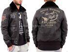 Aviatrix Mens Boys Printed Black Bomber Leather Pilot Air Force Flying Jacket