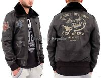 Aviatrix Mens Boys Printed Black Bomber Leather Pilot Air Force Flying Jacket