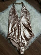 Ann Summers Alexah Gold Sequin Zip Up Halter Body L 16-18 New Tags £38