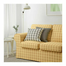 New IKEA cover set for Ektorp 2 seat sofa in Skaftarp Yellow check 100%COTTON