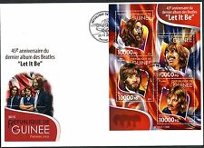 """GUINEA  2015 THE BEATLES 45th ANNIVERSARY  OF """"LET IT BE""""  SHEET  FDC"""