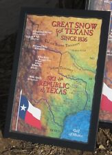 "16""x24"" Republic of Texas Ski Map Poster- Ski Texas!!- Fort Worth, Texas"