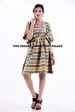Indian Vintage Cotton Kantha Kaftan Women Plus Size Boho Maxi Dress Drawstring