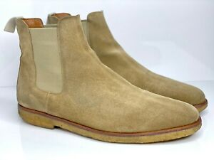 Common Projects Tan Chelsea Boots 44 11 Suede Leather Natural 1851 0241 Slip On