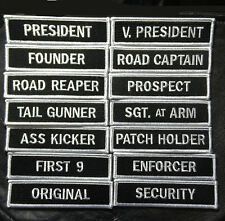 SON OF OUT LAW  MC CLUB OFFICER TITLE 14 PC VP ROAD REAPER  MC BIKER PATCH