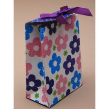 NEW 12 Purple top with flower print top gift box bag favour 10.5x7.5x4cm