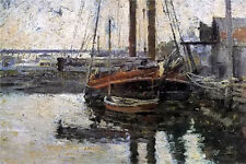Oil painting theodore robinson - coal schooner unloading free shipping canvas