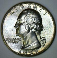 1958 Washington SILVER Quarter BU Coin from Roll 25c Twenty-Five Cents