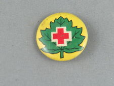 Vintage Red Cross Pin - Logo on Green Leaf
