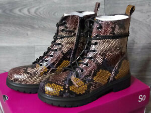 Faux snake print combat boots NIB Womens size 7 New Bowfin SO brand multi color