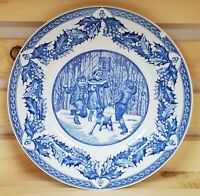 "Spode Snowball Games Luncheon Plate Blue White Victorian Children 9 1/2"" England"
