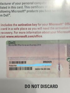Microsoft Office Home and Business 2010 Product Activation Key Card ONLY NO Disc