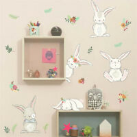 rabbit flower wall stickers for kids rooms home decor wall decals pvc diy artHCU