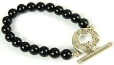 "Tiffany & Co. Black Onyx 8mm 925 Sterling Silver Beaded Strand 6.5"" Bracelet"