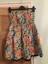 Jack Wills Strapless Floral Tunic Top / Very Mini Dress Size 10 Flared Hem