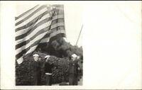 Navy Sailors w/ Bugels & American Flag c1910 Real Photo Postcard