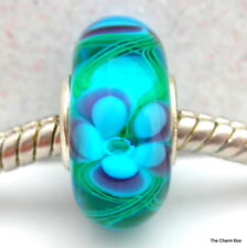 TURQUOISE WITH BLUE FLOWERS & GREEN SWIRLS Murano Glass European Bracelet Bead