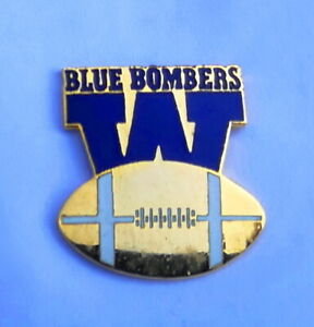 """1990 Winnipeg Blue Bombers """"W"""" with football CFL logo pin by Inter. Insignia"""
